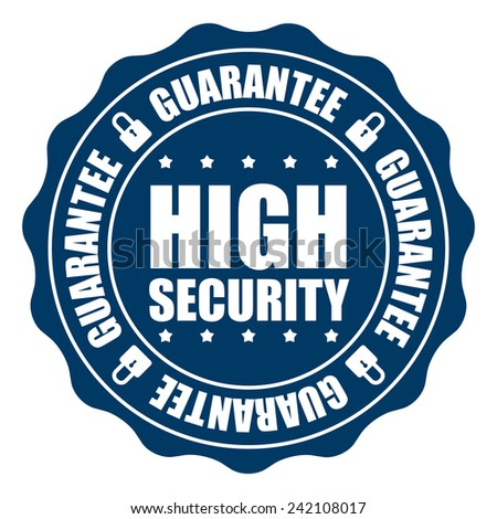 Blue High Security Guarantee Icon, Badge, Sticker, Tag or Label Isolated on White Background - stock photo