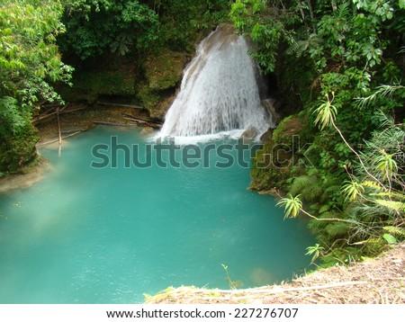 Blue Hole Falls, Jamaica, Jungle, Ocho Rios - stock photo
