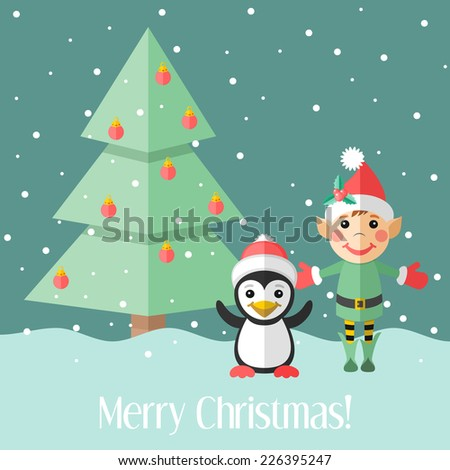 Blue holiday Christmas card with elf and penguin and fir tree - stock photo