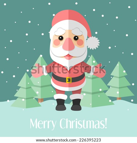Blue holiday Christmas card with Santa Claus and winter forest - stock photo