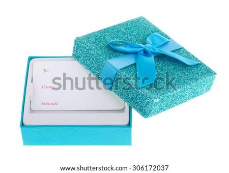 Blue holiday gift box isolated on white - stock photo