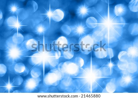 Blue holiday illumination out of focus and stars - stock photo