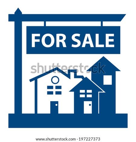 Blue Home, Apartment, Building, Condominium or Real Estate For Sale Sign Icon, Sticker or Label Isolated on White Background  - stock photo
