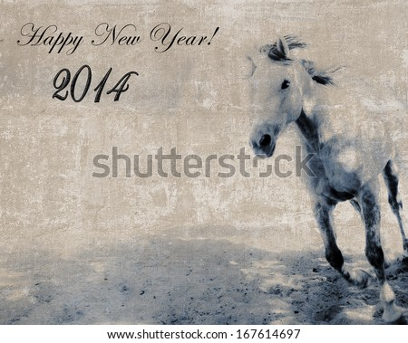 Blue Horse New Year vintage textured postcard  - stock photo