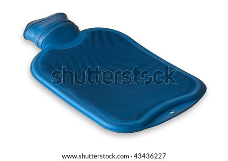 Blue hot water bottle isolated on a white background - stock photo
