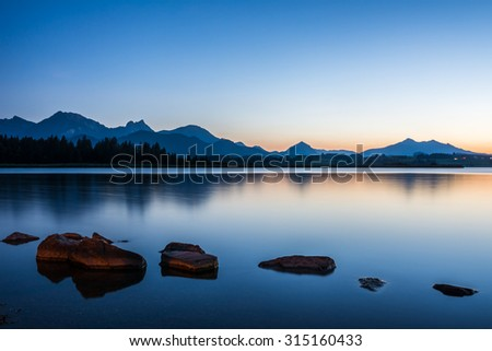 Blue Hour at Lake Hopfen (Bavaria, Germany) - stock photo