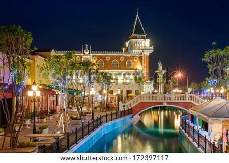 Blue Hour at The Venezia Hua Hin,  - stock photo
