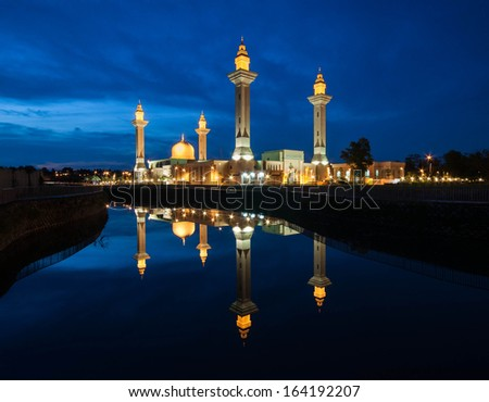 Blue Hour Mosque With Reflection,Malaysia.Masjid tengku ampuan jemaah. - stock photo