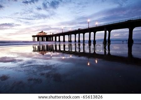 Blue Hour Reflection Manhattan Beach Pier - stock photo