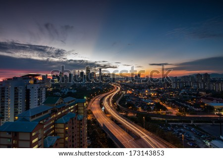 Blue hour view of Kuala Lumpur city. - stock photo