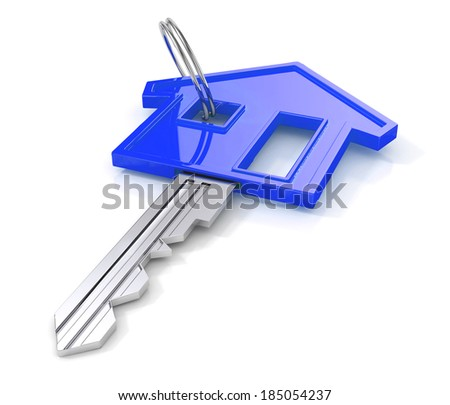 Blue house key. 3d illustration. housing concept isolated on white background. - stock photo