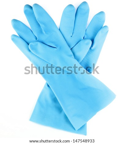 Blue household protective rubber gloves Isolated on white background - stock photo