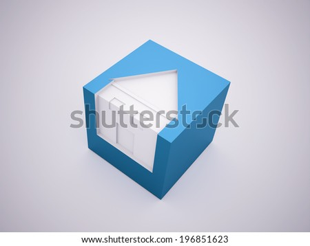 Blue houses business concept rendered - stock photo