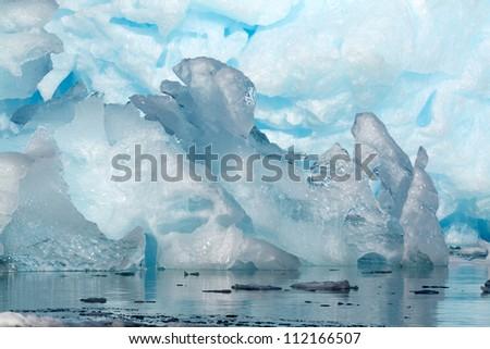 Blue ice, Antarctica - stock photo
