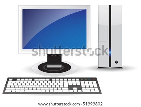 Blue icon pc desktop isolated concept - stock photo