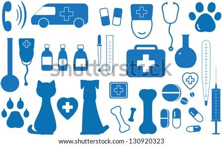 blue icon set veterinary objects - stock photo