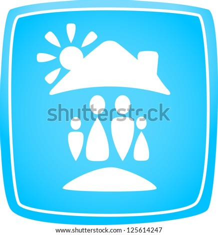 blue icon with family, house and sun silhouette - stock photo