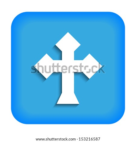 Blue icon with the image of rustrakehner color crosses ace - stock photo