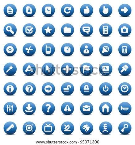 Blue icons set for computer interface. Raster version. For vector version of this image, see my portfolio. - stock photo