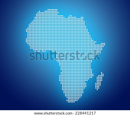 Blue image of modern optimally dotted Africa map illustration - stock photo