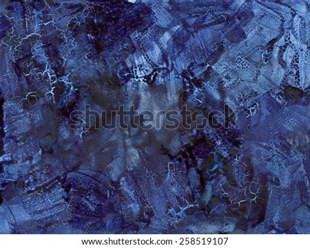 Blue Indigo Cracked Abstract Background - Ink on paper - stock photo