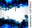 Blue ink blots background. Raster version - stock photo