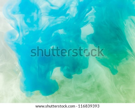 Blue Ink in water. - stock photo