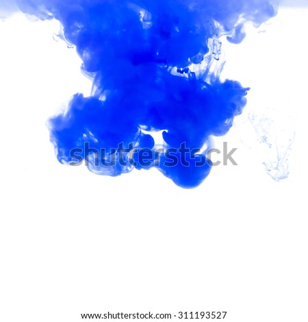 Blue ink in water background - stock photo