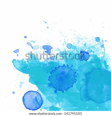 Blue Ink paint splatter on white paper - stock photo