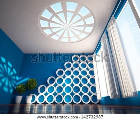 blue interior - stock photo