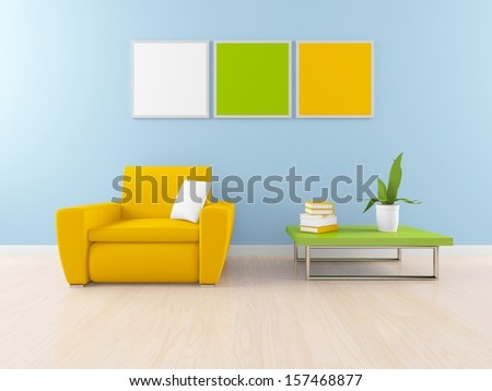 blue interior  - stock photo
