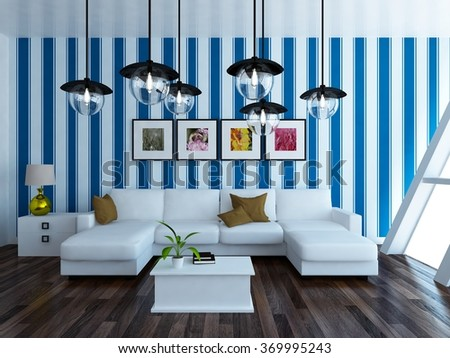 blue interior with sofa. 3d illustration - stock photo