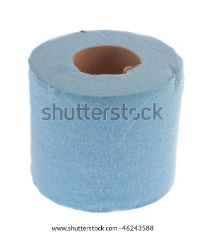 Blue isolated toilet paper over white background - stock photo
