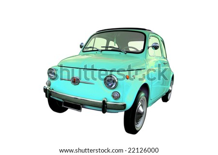Blue Italian Fiat 500 isolated on a white background - stock photo
