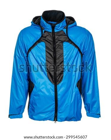 blue jacket on white background - stock photo