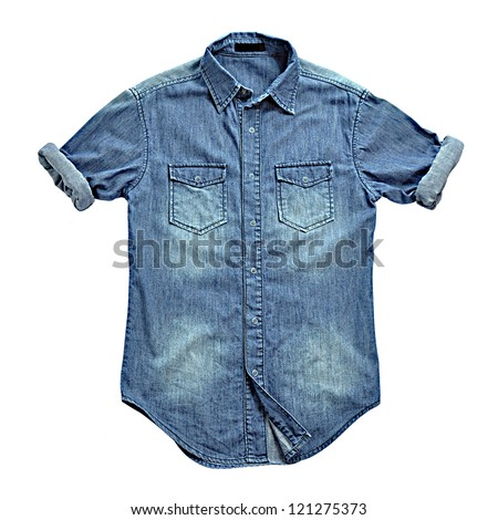 Blue jean shirt isolated - stock photo