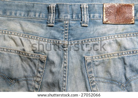 blue jeans cloth with leather label - stock photo