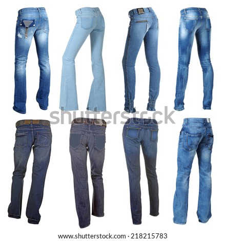 blue jeans isolated on white - stock photo
