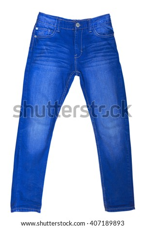 Blue Jeans Isolated on White Background. Clipping path included. - stock photo