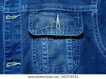 Blue jeans jacket close up texture - stock photo