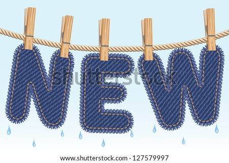 Blue jeans NEW word drying on a clothesline. Raster version. Vector is also available in my gallery - stock photo