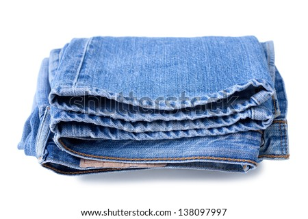 Blue jeans on a white background - stock photo