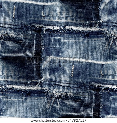 blue jeans patchwork texture - seamless pattern - stock photo