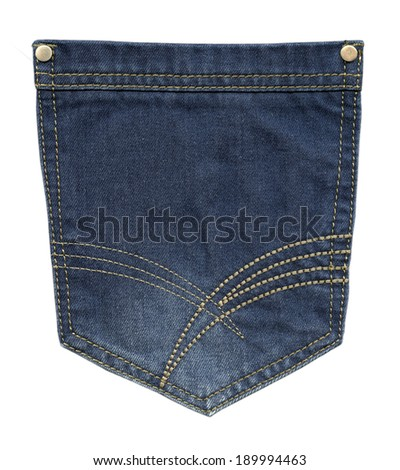 blue jeans pocket closeup on white background - stock photo