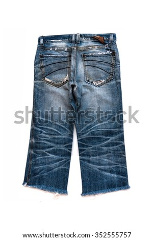 Blue jeans  short isolated on the white background - stock photo