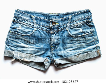 Blue jeans shorts trouser isolated on the white background / studio shot - stock photo