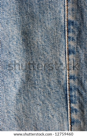 Blue jeans texture with stiching - stock photo