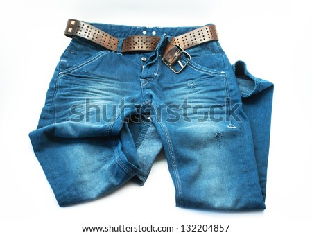 Blue jeans trouser on white - stock photo