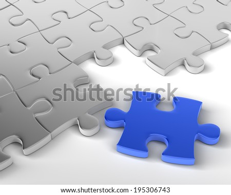 Blue Jigsaw is Missing Element - stock photo