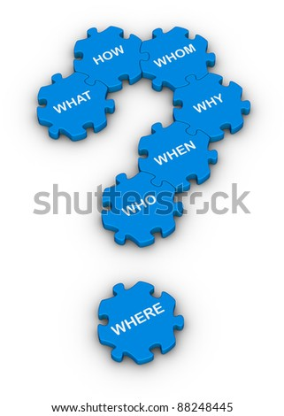 blue jigsaw puzzles question mark with question words - stock photo